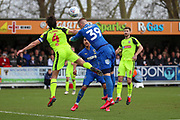 AFC Wimbledon striker Joe Pigott (39) winning header in the box during the EFL Sky Bet League 1 match between AFC Wimbledon and Bolton Wanderers at the Cherry Red Records Stadium, Kingston, England on 7 March 2020.