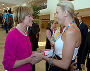 (L) Mary Davis - Director of Europe Eurasia Region Special Olympics & (R) Princess Charlene of Monaco, wife of Monaco's Prince Albert II while 2011 Special Olympics World Summer Games Athens on June 25, 2011..The idea of Special Olympics is that, with appropriate motivation and guidance, each person with intellectual disabilities can train, enjoy and benefit from participation in individual and team competitions...Greece, Athens, June 25, 2011...Picture also available in RAW (NEF) or TIFF format on special request...For editorial use only. Any commercial or promotional use requires permission...Mandatory credit: Photo by © Adam Nurkiewicz / Mediasport