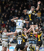 Wycombe, GREAT BRITAIN,  Wasps', Simon SHAW, distributes the line out ball, during the Guinness Premiership rugby game, London Wasps vs Northampton Saints, at Adam's Park Stadium, Bucks, England, on Sun 22.02.2009. [Photo, Peter Spurrier/Intersport-images]
