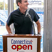August 24, 2016, New Haven, Connecticut: <br /> Tournament Emcee Andrew Krasny speaks at the Mayor's Women's Legislators Luncheon during Day 6 of the 2016 Connecticut Open at the Yale University Tennis Center on Wednesday, August  24, 2016 in New Haven, Connecticut. <br /> (Photo by Billie Weiss/Connecticut Open)