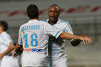 FOOTBALL - FRENCH CHAMPIONSHIP 2011/2012 - L1 - OLYMPIQUE MARSEILLE v PARIS SAINT GERMAIN  - 27/11/2011 - PHILIPPE LAURENSON / DPPI - JOY AFTER GOAL ANDRE AYEW (OM)