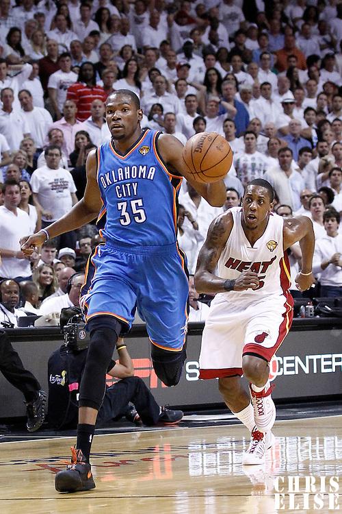 19 June 2012: Oklahoma City Thunder small forward Kevin Durant (35) runs the fastbreak during the Miami Heat 104-98 victory over the Oklahoma City Thunder, in Game 4 of the 2012 NBA Finals, at the AmericanAirlinesArena, Miami, Florida, USA.