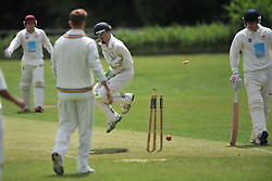 DANIEL HARRIS BATTSMAN OLD NORTHAMPTONIANS, GETS IN HIS CREASE AS RUSHTONS THROW HITS THE WICKETS, RUSHTON CRICKET CLUB v OLD NORTHAMPTONIANS CC, Station Road Rushton Saturday 25th June 2016