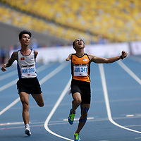 Atlet olahraga negara Ahmad Solihim Mohd Nor meraih pingat emas dengan catatan masa 11.80 saat dalam acara 100 meter lelaki akhir kelas T45/T46 pada Sukan Para ASEAN Ke-9 Kuala Lumpur 2017 di Stadium Nasional Bukit Jalil hari ini.