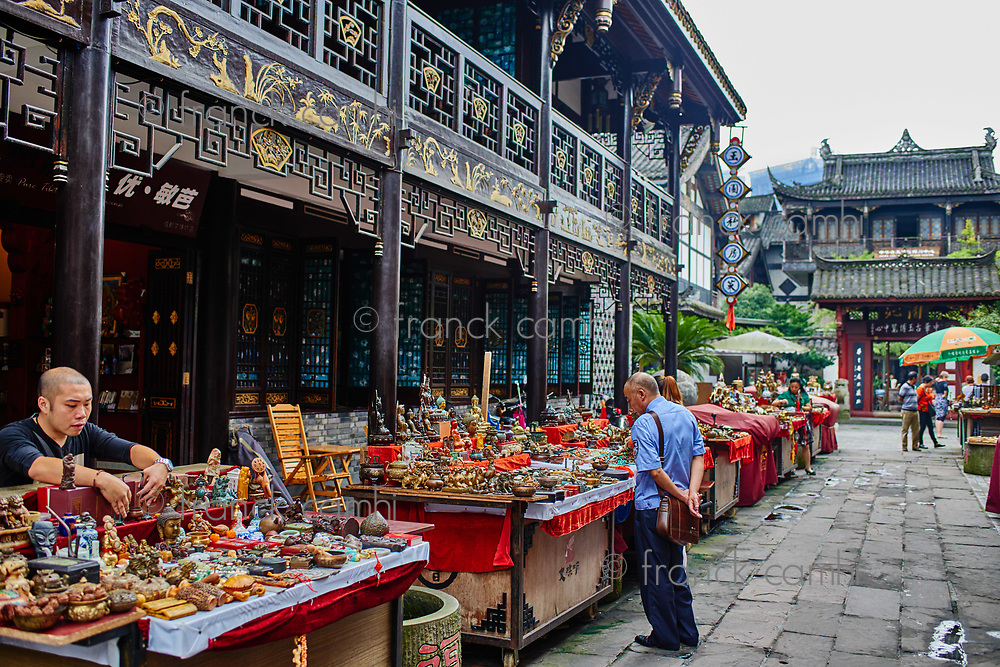 Chengdu, China - September 19, 2014: tourists people Wenshu monastery pedestrian area in Chengdu Sichuan China