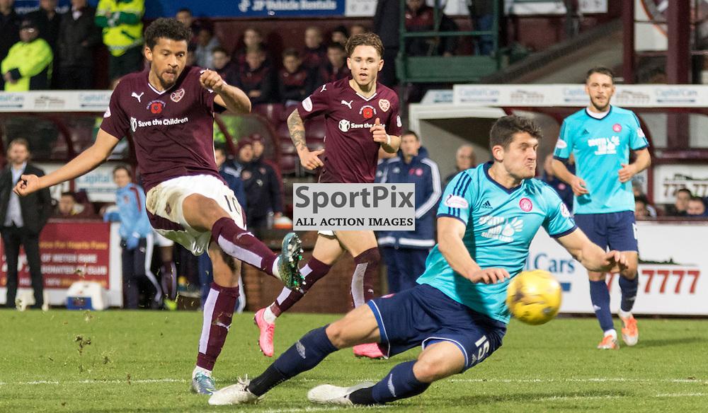 Heart of Midlothian's Osman Sow gets a shot in on goal in the Hearts vs Hamilton Academical Scottish Premiership 7th November 2015......(c) MARK INGRAM | SportPix.org.uk