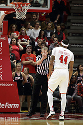 16 November 2015: Randy Heimerman awards 2 shots to DeVaughn Akoon-Purcell(44). Illinois State Redbirds host the Morehead State Eagles at Redbird Arena in Normal Illinois (Photo by Alan Look)