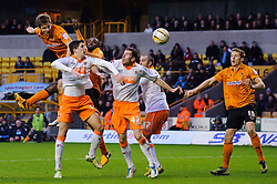 Wolves Forward Kevin Doyle (IRL) heads a shot on goal wide during the second half of the match - Photo mandatory by-line: Rogan Thomson/JMP - Tel: Mobile: 07966 386802 26/01/2013 - SPORT - FOOTBALL - Molineux Stadium - Wolverhampton. Wolverhampton Wonderers v Blackpool - npower Championship.