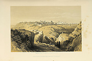 General view of Jerusalem from The Holy Land : Syria, Idumea, Arabia, Egypt & Nubia by Roberts, David, (1796-1864) Engraved by Louis Haghe. Volume 1. Book Published in 1855 by D. Appleton & Co., 346 & 348 Broadway in New York.