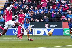 Jon Nolan of Shrewsbury Town shots at goal to out Shrewsbury Town 1-0 up against Rotherham United - Mandatory by-line: Ryan Crockett/JMP - 18/11/2017 - FOOTBALL - Aesseal New York Stadium - Rotherham, England - Rotherham United v Shrewsbury Town - Sky Bet League One