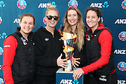 Tactix players Nicola Mackle, Hayley Saunders, Zoe Walker and Sofia Fenwick get a photo with the ANZ trophy replica during the ANZ Championship Roadshow, Win a Warmup, held at the Selwyn Netball Centre, Lincoln. 17 May 2014 Photo: Joseph Johnson/www.photosport.co.nz