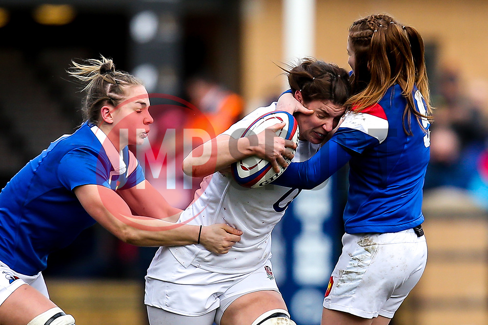 Sarah Hunter of England Women is tackled - Mandatory by-line: Robbie Stephenson/JMP - 10/02/2019 - RUGBY - Castle Park - Doncaster, England - England Women v France Women - Women's Six Nations