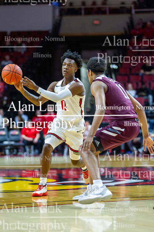 NORMAL, IL - January 07: DJ Horne passes off when approached by Isiaih Mosley during a college basketball game between the ISU Redbirds and the University of Missouri State Bears on January 07 2020 at Redbird Arena in Normal, IL. (Photo by Alan Look)