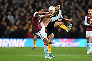 Aston Villa defender Neil Taylor (3) battles for possession  with Wolverhampton Wanderers midfielder Pedro Neto (7) during the EFL Cup match between Aston Villa and Wolverhampton Wanderers at Villa Park, Birmingham, England on 30 October 2019.