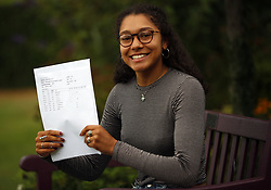 August 17, 2017 - London, LONDON, ENGLAND - LONDON, UK. .LADY ELEANOR HOLLES STUDENTS RECEIVE A LEVEL RESULTS .Lady Eleanor Holles student Ammaarah Subjally, receives 3 A*s in her A level results today and is going onto Cambridge University to study Chemistry. Lady Eleanor Holles School in Hampton, south-west London achieved 96% of students passing with grades A*-B. (Credit Image: © Lnp/London News Pictures via ZUMA Wire)