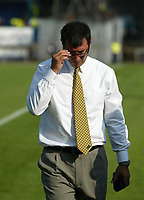 Photo: Andrew Unwin.<br />Northern Ireland v Azerbaijan. FIFA World Cup Qualifying match. 03/09/2005.<br />Northern Ireland's manager, Lawrie Sanchez, relaxes after a job well done, his team winning by two goals to nil.