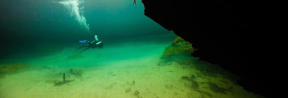 Deux plongeurs explorent une cenote du Yucatan au Mexique.   Two divers explore a cenote located in Yucatan, Mexico.