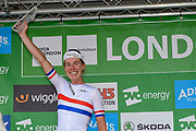 Hannah Barnes (GBR) riding for Canyon/SRAM Racing is third overall in the OVO Energy Women's Tour, London Stage, at Regent Street, London, United Kingdom on 11 June 2017. Photo by Martin Cole.
