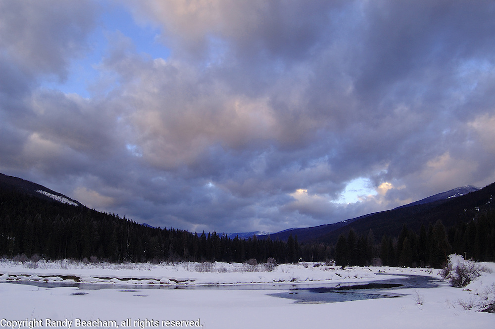 Yaak River at sunrise. Yaak Valley in the Purcell Mountains, northwest Montana.
