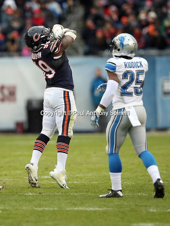 Chicago Bears linebacker Lamarr Houston (99) celebrates after sacking Detroit Lions quarterback Matthew Stafford (9) in the second quarter during the NFL week 17 regular season football game against the Detroit Lions on Sunday, Jan. 3, 2016 in Chicago. The Lions won the game 24-20. (©Paul Anthony Spinelli)