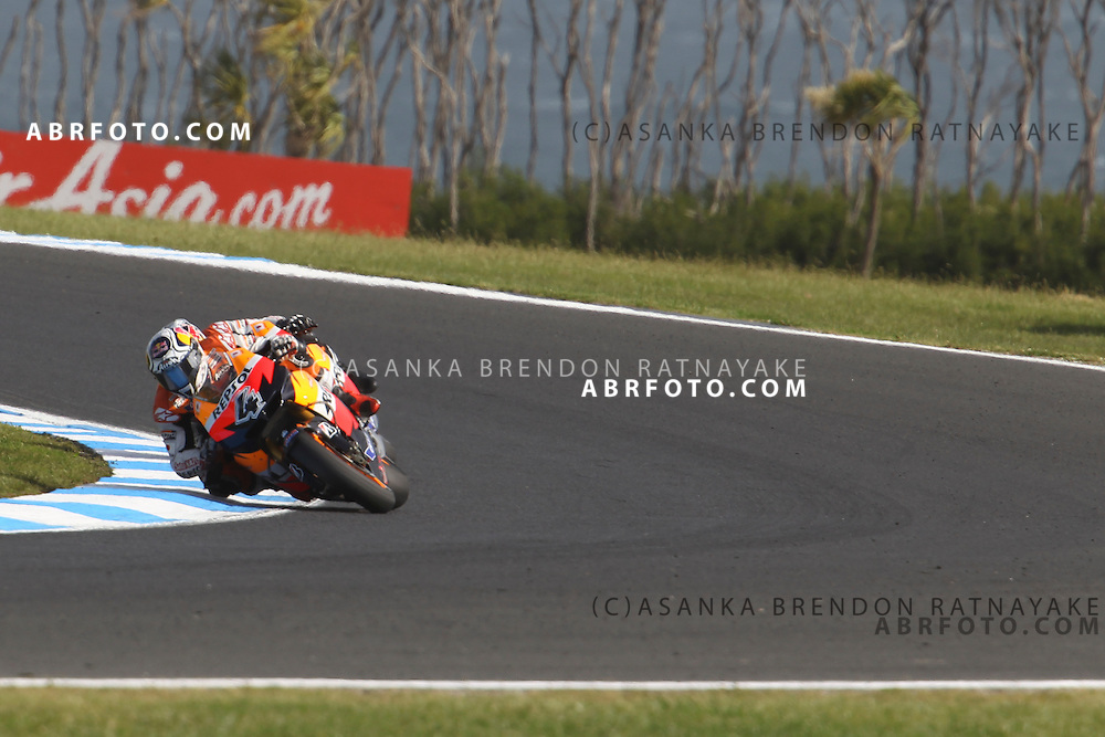 16 October 2011: Andrea Dovizioso (4) riding the Repsol Honda turns into turn 8 with his team mate Dani Pedrossa (26) right behind him during the IVECO Australian MotoGP Grand Prix at the Phillip Island Circuit in Phillip Island, Victoria, Australia.