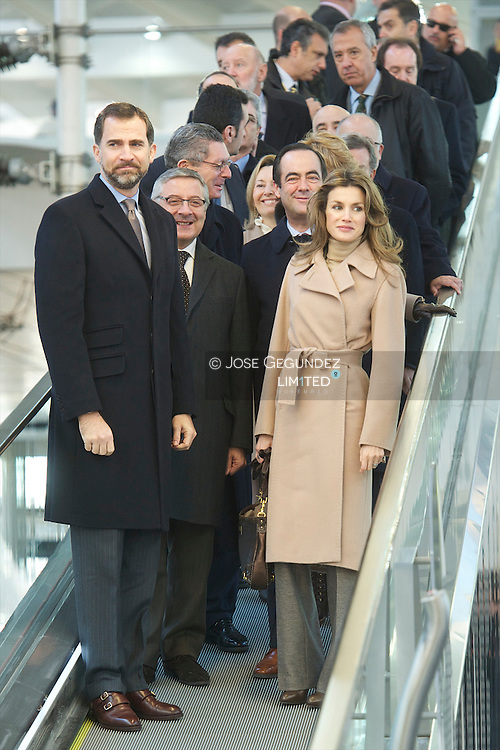 Prince Felipe and Princess Letizia attend the Opening the high-speed train (AVE) Madrid-Cuenca-Albacete at Atocha Railway Station in Madrid