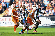 Notts County forward Jonathan Stead (30) battles with Luton Town defender Jack Stacey (7) during the EFL Sky Bet League 2 match between Notts County and Luton Town at Meadow Lane, Nottingham, England on 5 May 2018. Picture by Jon Hobley.