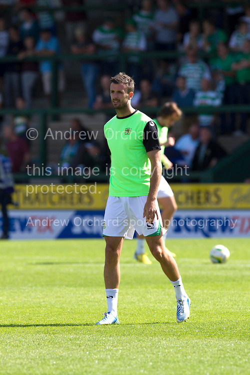 Daniel Seaborne of Yeovil Town warming up before the Skybet championship match, Yeovil Town v Reading at Huish Park in Yeovil on Saturday 31st August 2013. <br /> Picture by Sophie Elbourn, Andrew Orchard sports photography,