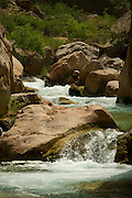 Gurgling water in Havasu Creek, Havasupai Indian Reservation, Grand Canyon National Park, Arizona, US