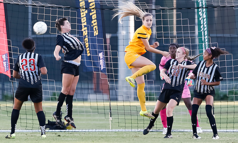 Long Beach State player  Kaitlin Fregulia (2) attempts to score while being surrounded by 4 CSUN Players. <br /> <br /> Photo by Ozzy Jaime, Sports Shooter Academy