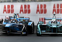 April 28, 2018 - Paris, Ile-de-France, France - Portugal's Antonio Felix da Costa of the Formula E team Andretti (R) competes with Switzerland Sébastien Buemi (L) of the Formula E team Renault e.dams during the practice session of the French stage of the Formula E championship around The Invalides Monument close to The Eiffel Tower in Paris on April 28, 2018. (Credit Image: © Michel Stoupak/NurPhoto via ZUMA Press)