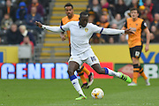 Toumani Diagouraga (16) crosses ball  during the Sky Bet Championship match between Hull City and Leeds United at the KC Stadium, Kingston upon Hull, England on 23 April 2016. Photo by Ian Lyall.