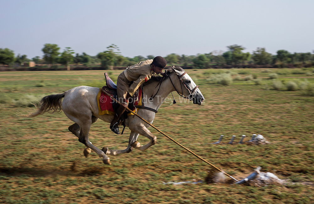 Om Prakash 26 year old Horse Trainer 'tent pegging' (spearing tent peg sized pieces of foam with a lance) on Mawari mare Narayani (7), The Marwari Bloodlines stud farm in Dundlod, Rajasthan, India, 14th June 2008. Tent pegging is an exercise or sport with its roots on battlefields of the past when lances were used as weapons from horseback<br />