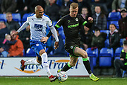 Tranmere Rovers Jake Caprice(14) and Forest Green Rovers Nathan McGinley(19) during the EFL Sky Bet League 2 play off first leg match between Tranmere Rovers and Forest Green Rovers at Prenton Park, Birkenhead, England on 10 May 2019.
