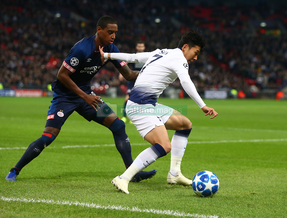 November 6, 2018 - London, England, United Kingdom - London, England - November 06, 2018.Tottenham Hotspur's Son Heung-Min holds of Pablo Rosario of PSV Eindhoven.during Champion League Group B between Tottenham Hotspur and PSV Eindhoven at Wembley stadium , London, England on 06 Nov 2018. (Credit Image: © Action Foto Sport/NurPhoto via ZUMA Press)