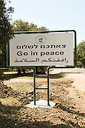 Israel, Golan Heights, The Druze vilege Massade The welcome sign in English Arabic and Hebrew