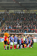 Exeter City and Grimsby Town players and fans observe a minutes silence for Armistice day before the EFL Sky Bet League 2 match between Exeter City and Grimsby Town FC at St James' Park, Exeter, England on 11 November 2017. Photo by Graham Hunt.