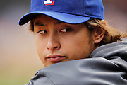 MINNEAPOLIS, MN - APRIL 14: Yu Darvish #11 of the Texas Rangers looks on against the Minnesota Twins at Target Field on April 14, 2012 in Minneapolis, Minnesota. (Photo by Joe Robbins)
