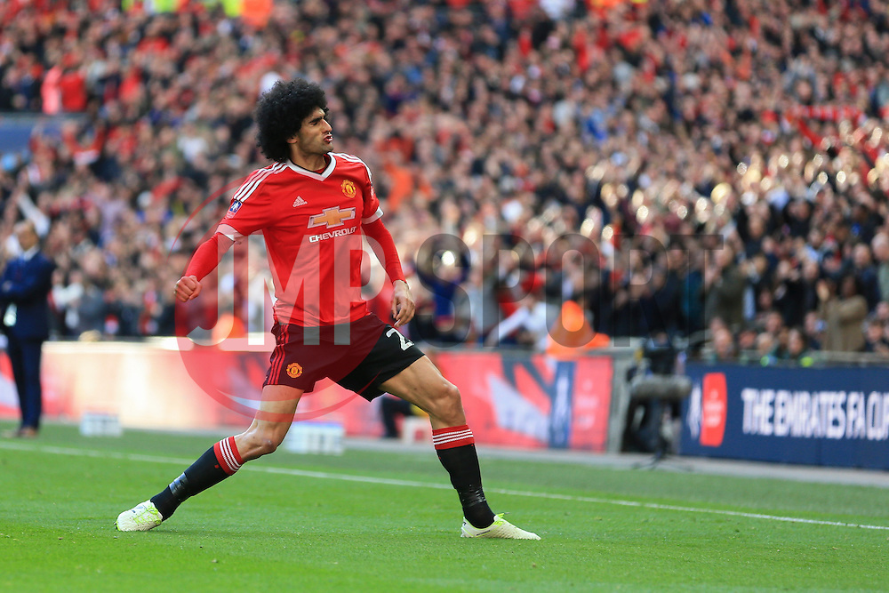 Goal, Marouane Fellaini of Manchester United scores, Everton 0-1 Manchester United - Mandatory byline: Jason Brown/JMP - 07966386802 - 23/04/2016 - FOOTBALL - Wembley Stadium - London, England - Everton v Manchester United - The Emirates FA Cup
