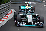 May 25, 2014: Monaco Grand Prix: Nico Rosberg  (GER), Mercedes Petronas and Lewis Hamilton (GBR), Mercedes Petronas