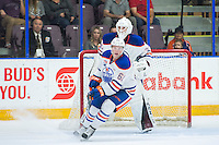 PENTICTON, CANADA - SEPTEMBER 17: Braden Christoffer #61 of Edmonton Oilers stops on the ice against the Calgary Flames on September 17, 2016 at the South Okanagan Event Centre in Penticton, British Columbia, Canada.  (Photo by Marissa Baecker/Shoot the Breeze)  *** Local Caption *** Braden Christoffer;
