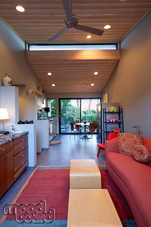 Stylish open plan living room and kitchen