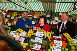 Pictured: John O'Connel of RBG fruits was keen to speak to Sarah Boyack and Alex Rowley<br /> <br /> Scottish Labour deputy leader Alex Rowley was joined by the party's environment spokeswoman Sarah Boyack and party activists at a farmers' market in the Grassmarket, Edinburgh today. <br /> <br /> Ger Harley | EEm 1 April 2016