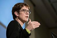 14 JAN 2019, BERLIN/GERMANY:<br /> Annegret Kramp-Karrenbauer, CDU Bundesvorsitzende, haelt eine Rede, Veranstaltung der Konrad-Adenauer-Stiftung, KAS, &quot;Frauenpolitik - Auftrag fuer morgen!&quot;, Sheraton Hotel <br /> IMAGE: 20190114-01-037