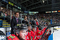 KELOWNA, CANADA - MAY 1: Kyle Gustafson, Assistant Coach and Jamie Kompon, head coach of the Portland Winterhawks stand on the bench against the Kelowna Rockets on May 1, 2015 at Prospera Place in Kelowna, British Columbia, Canada.  (Photo by Marissa Baecker/Getty Images)  *** Local Caption *** Kyle Gustafson; Jamie Kompon;