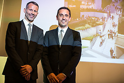 © Licensed to London News Pictures . 28/07/2016 . Manchester , UK . RYAN GIGGS and GARY NEVILLE at the launch of the St Michael's city centre development , at the Lord Mayor's Parlour in Manchester Town Hall . Backed by The Jackson's Row Development Partnership (comprising Gary Neville , Ryan Giggs and Brendan Flood ) along with Manchester City Council , Rowsley Ltd and Beijing Construction and Engineering Group International , the Jackson's Row area of the city centre will be redeveloped with a design proposed by Make Architects . Photo credit : Joel Goodman/LNP
