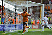 Adam Le Fondre celebrates scoring the second goal during the Sky Bet Championship match between Wolverhampton Wanderers and Charlton Athletic at Molineux, Wolverhampton, England on 29 August 2015. Photo by Alan Franklin.