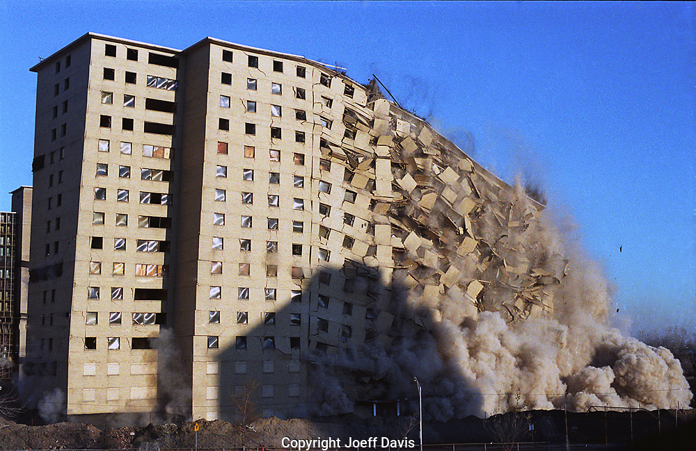On December 16, 1998 the city of Chicago imploded four vacant public housing high rises in the Hyde Park neighborhood on Chicago's south side.