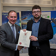 24.05.2018.       <br /> The Limerick Institute of Technology with Atlantic Air Adventures and funding from the Aviation Skillnet presented over forty certificates to Aviation professionals who have completed the Certificate in Aviation, The Aircraft Records Technician Level 7 and Part 21 Design, Level 7.<br /> <br /> Pictured at the event was Jim Gavin, The Irish Aviation Authority and Manager of the Dublin Football Team who presented, Eamonn Brennan with their cert.<br /> <br /> LIT in partnership with Atlantic Air Adventures, CAE Parc Aviation, Part 21 Design and industry experts such as Anton Tams, GECAS, Don Salmon, CAE Parc Aviation and Mick Malone, Part 21 Design have developed and deliver these key training programmes with funding for aviation companies provided by The Aviation Skillnet.<br /> <br /> . Picture: Alan Place
