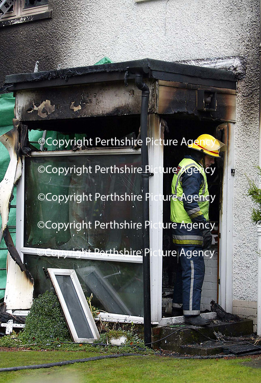 Firefighters at the scene of the fatal house fire in Aberfeldy Road, Kenmore, Perthshire where a man died.<br />